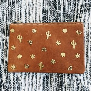 Madewell Leather Pouch Clutch: Southwestern Rivets